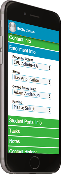 Student management software on mobile phone