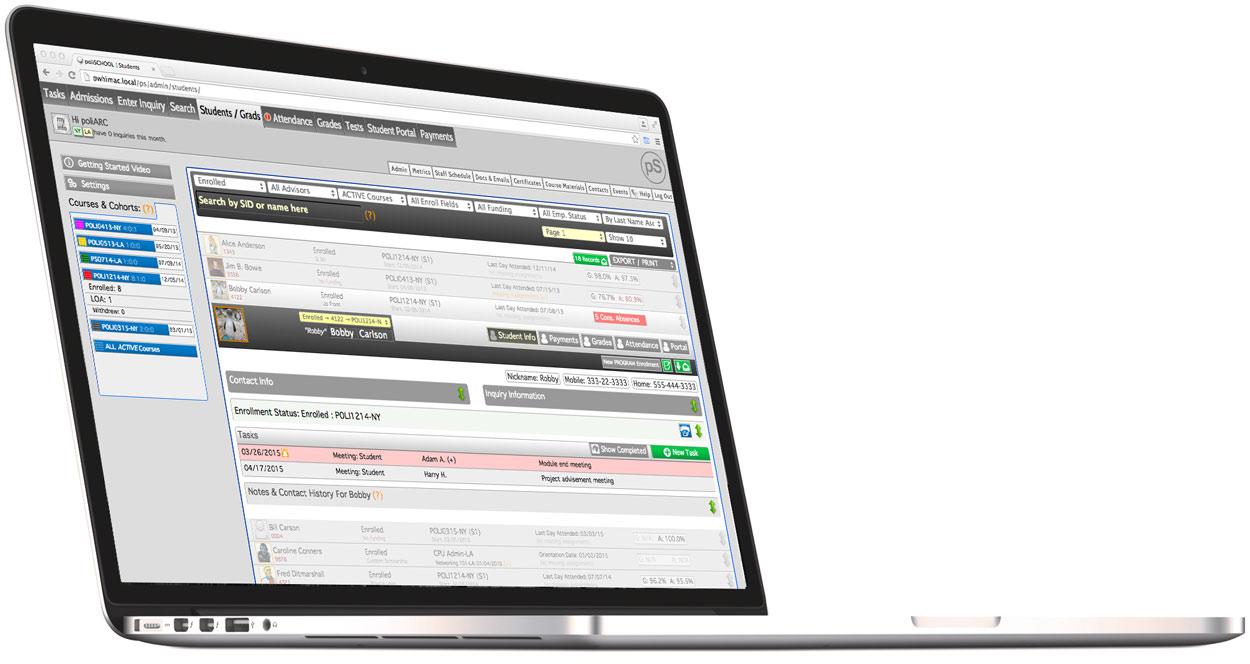 School management software on laptop, web based